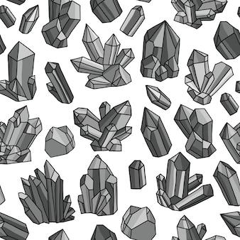 Naadloos vectorpatroon met heldere kristallen. kleurrijke illustratie