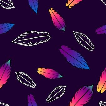 Naadloos vectorpatroon met kleurrijke gestileerde veren