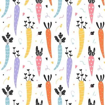 Naadloos vectorpatroon met kleurrijke wortelen