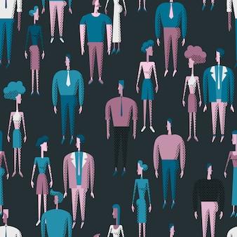 Naadloos vectorpatroon met mensen