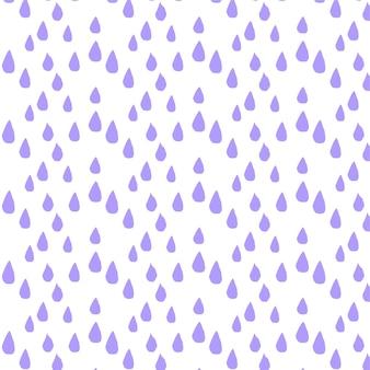 Naadloos vectorpatroon met paarse regendruppelsachtergrond