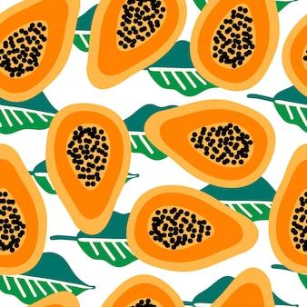 Naadloos vectorpatroon met papaja op bladeren backgorund. modern concept