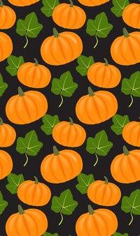 Naadloos vectorpatroon met pompoenen en bladeren voor uw creativiteit