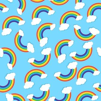 Naadloos vectorpatroon met regenbogen en wolk op blauwe achtergrond voor stoffen textielbehang