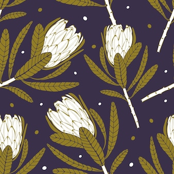 Naadloos vectorpatroon met tropische witte proteabloemen op donkere achtergrond