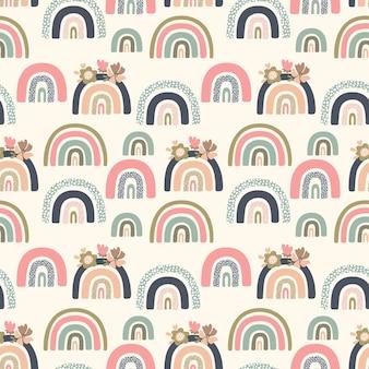 Naadloos vectorpatroon met veelkleurige abstracte regenbogen op een beige achtergrond, voor kinderen en moderne ontwerpen