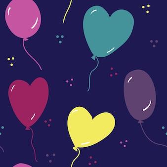 Naadloos vectorpatroon met veelkleurige ballonnen in de vorm van harten en cirkels