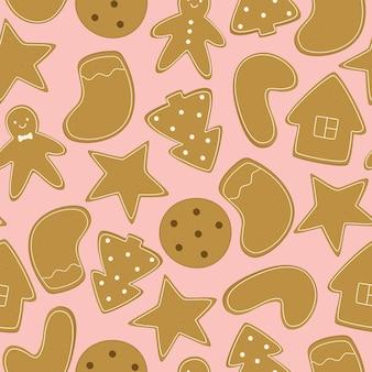 Naadloos vectorpatroon met zelfgemaakte kerstkoekjes