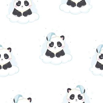 Naadloos vectorpatroon: panda draagt op wolk klaar om te slapen