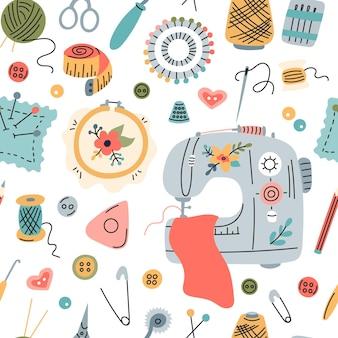Naadloos vectorpatroon van elementen voor naaien, borduren en handwerken in een vlakke stijl