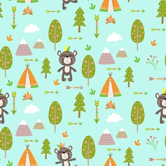 Naadloos vectorpatroon voor kinderen met beren in het bos voor kinderontwerp