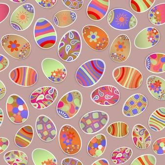 Naadloos veelkleurig patroon van papieren paaseieren met verschillende ornamenten