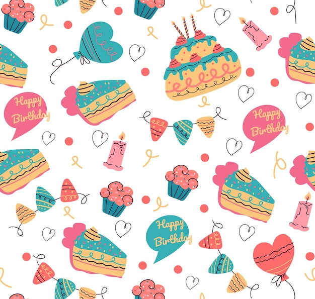 Naadloos verjaardagspatroon voor print vectorontwerp