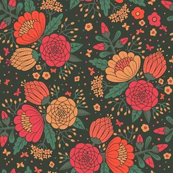Naadloos vintage patroon met decoratieve bloemen.