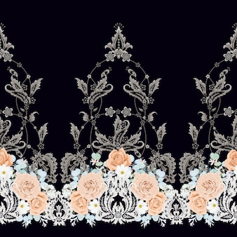 Naadloos vintage patroon met perzikrozen