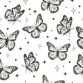 Naadloos vliegend vlinderpatroon