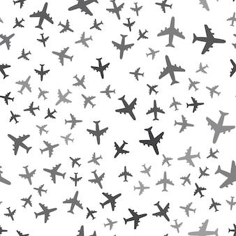 Naadloos vliegtuigpatroon op een witte achtergrond. eenvoudig creatief ontwerp van het vliegtuigpictogram. kan worden gebruikt voor behang, webpagina-achtergrond, textiel, print ui/ux