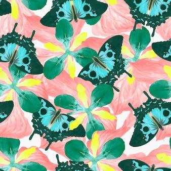 Naadloos vlinder bloemen vectorpatroon, vintage remix van the naturalist's miscellany door george shaw