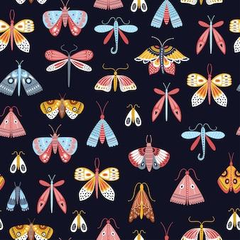 Naadloos vlinderspatroon in scandinavische stijl.
