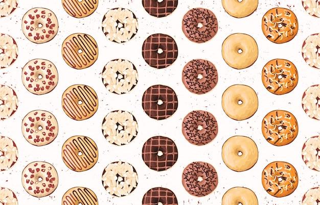 Naadloos voedselpatroon met zoete donuts