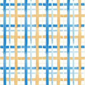 Naadloos waterverfpatroon in blauwe en gouden kooi