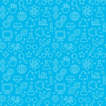 Naadloos wetenschapspatroon, hand getrokken wetenschapskrabbels op blauw.