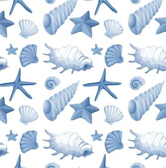 Naadloos zeeschelpenpatroon Gratis Vector