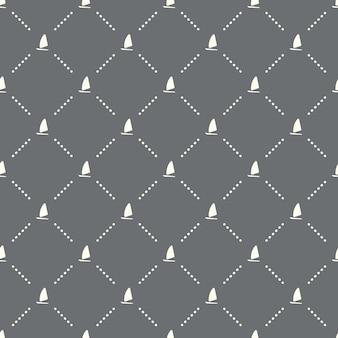 Naadloos zeilbootpatroon op een donkere achtergrond. zeilboot pictogram creatief ontwerp. kan worden gebruikt voor behang, webpagina-achtergrond, textiel, print ui/ux