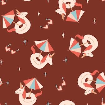 Naadloos zomerpatroon met eenhoornvormige zwemcirkelparaplu en zonnebril