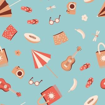 Naadloos zomerpatroon met paraplu-kokoscocktail eenhoornvormige zwemcirkel enz