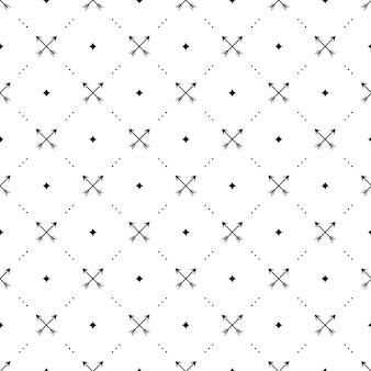 Naadloos zwart patroon met gekruiste pijlen