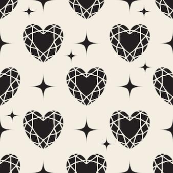 Naadloos zwart-wit hart diamant patroon