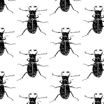 Naadloos zwart-wit patroon met bugs.