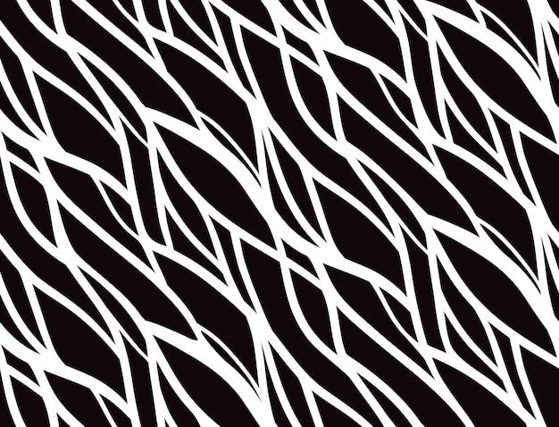 Naadloos zwart-wit patroon met doodle kromme lijnen
