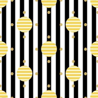 Naadloos zwart-wit punt patroon op streep achtergrond