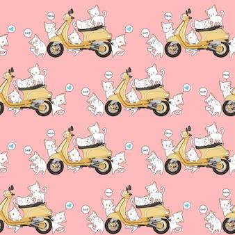 Naadloze 6 schattige katten en gele motorfiets patroon.