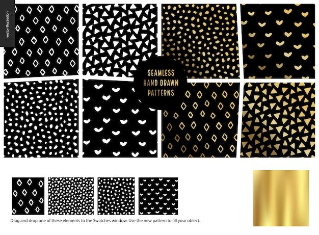 Naadloze abstracte patronen. rubberen, driehoeken, harten en stippen