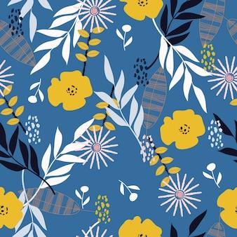 Naadloze abstracte tropische lente bloemenpatroon achtergrond