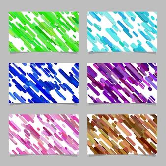 Naadloze abstracte willekeurige afgeronde diagonale streep patroon kaart achtergrond sjabloon set - vector illustraties met strepen in gekleurde tinten