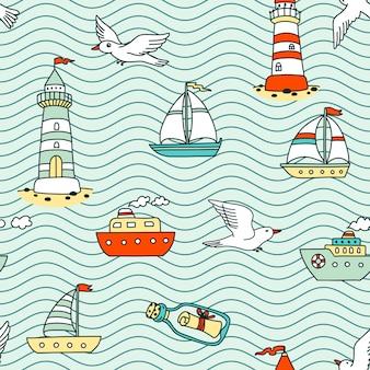 Naadloze abstracte zee patroon met schepen, vuurtorens, meeuwen en bericht in een fles