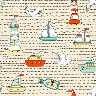 Naadloze abstracte zee patroon met schepen, vuurtorens, zeemeeuwen en bericht in een fles