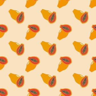 Naadloze achtergrond afbeelding kleurrijke tropische fruit papaja
