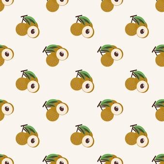 Naadloze achtergrond afbeelding kleurrijke tropische vruchten longan