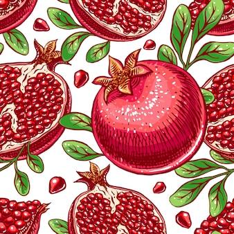 Naadloze achtergrond heerlijke rijpe schets granaatappel. handgetekende illustratie