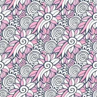 Naadloze achtergrond in vector voor volwassen kleurboekpagina of textielontwerp. mode bloemenpatroon
