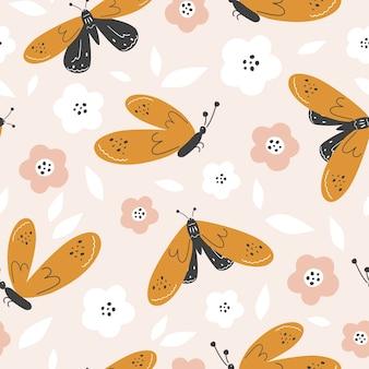 Naadloze achtergrond. kleurrijke vlinders op een lichte achtergrond met bloemen. vector illustratie