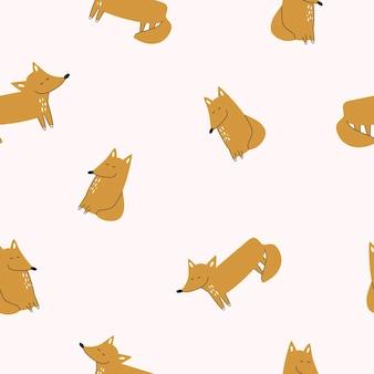 Naadloze achtergrond. leuke vossen op lichte vectorillustratie als achtergrond