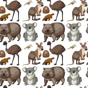Naadloze achtergrond met australische dieren