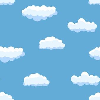 Naadloze achtergrond met blauwe lucht en witte cartoon wolken. vector illustratie.