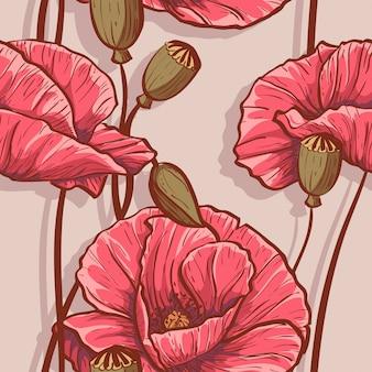 Naadloze achtergrond met bloemenpapavers